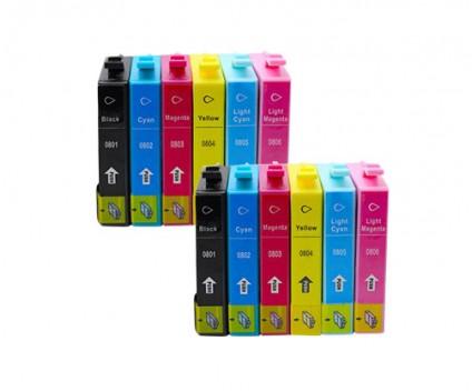 12 Compatible Ink Cartridges, Epson T0801-T0806 Black 13ml + Color 13ml