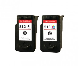 2 Compatible Ink Cartridges, Canon PG-510 / PG-512 Black 16ml + CL-511 / CL-513 Color 14.5ml