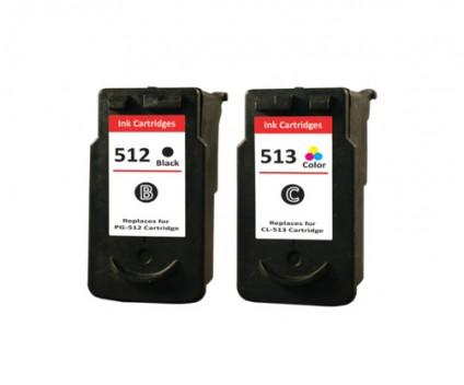 2 Compatible Ink Cartridges, Canon PG-510 / PG-512 Black 16ml + CL-511 / CL-513 Color 14.5ml