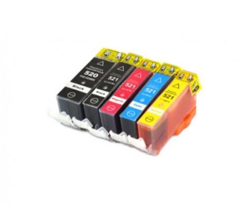 5 Compatible Ink Cartridges, Canon PGI-520 Black 19.4ml + CLI-521 Color 9ml