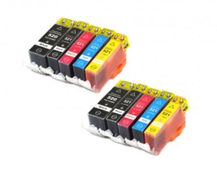 10 Compatible Ink Cartridges, Canon PGI-520 Black 19.4ml + CLI-521 Colores 9ml