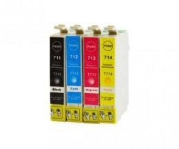 4 Compatible Ink Cartridges, Epson T0711-T0714 Black 13ml + Color 13ml