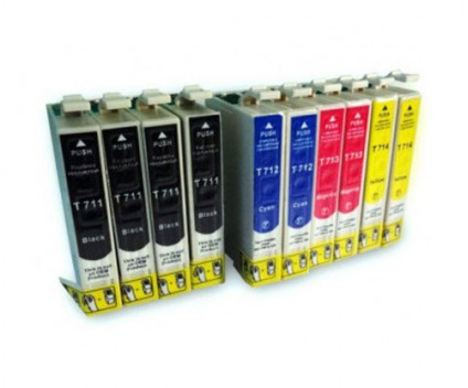 10 Compatible Ink Cartridges, Epson T0711-T0714 Black 13ml + Color 13ml