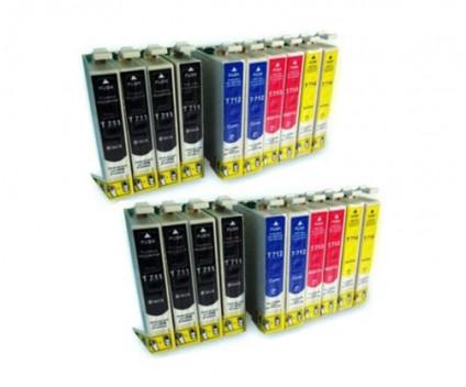 20 Compatible Ink Cartridges, Epson T0711-T0714 Black 13ml + Color 13ml
