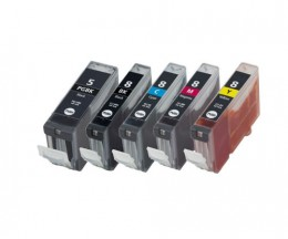 5 Compatible Ink Cartridges, Canon PGI-5 / CLI-8 Black 26.8ml + Color 13.4ml