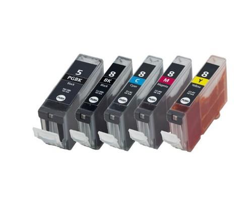 5 Compatible Ink Cartridges, Canon PGI-5 / CLI-8 Black 26.8ml + Color 13.4ml