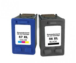 2 Compatible Ink Cartridges, HP 57 XL Color 18ml + HP 56 XL Black 22ml
