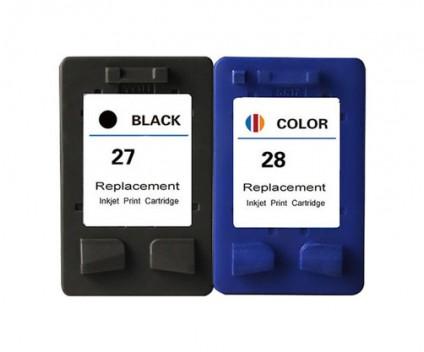 2 Compatible Ink Cartridges, HP 28 Color 18ml + HP 27 Black 22ml