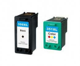 2 Compatible Ink Cartridges, HP 351 XL Color 18ml + HP 350 XL Black 25ml