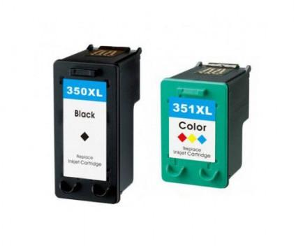 2 Compatible Ink Cartridges, HP 351 XL Color 18ml + HP 350 XL Black 25ml