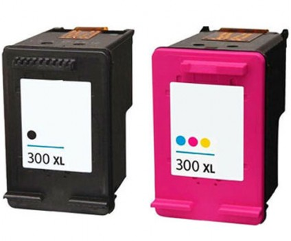 2 Compatible Ink Cartridges, HP 300 XL Black 20ml + Color 18ml