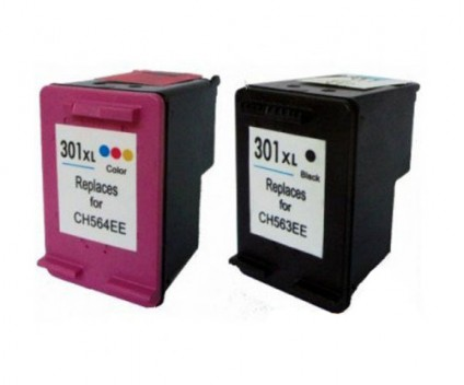 2 Compatible Ink Cartridges, HP 301 XL Black 20ml + Color 17ml