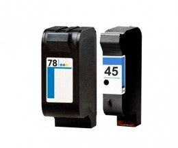 2 Compatible Ink Cartridges, HP 78 Color 39ml + HP 45 Black 40ml