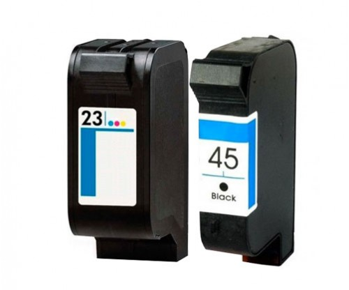 2 Compatible Ink Cartridges, HP 23 Color 39ml + HP 45 Black 40ml