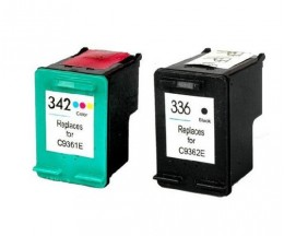 2 Compatible Ink Cartridges, HP 342 Color 18ml + HP 336 Black 18ml