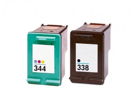 2 Compatible Ink Cartridges, HP 344 Color 18ml + HP 338 Black 20ml