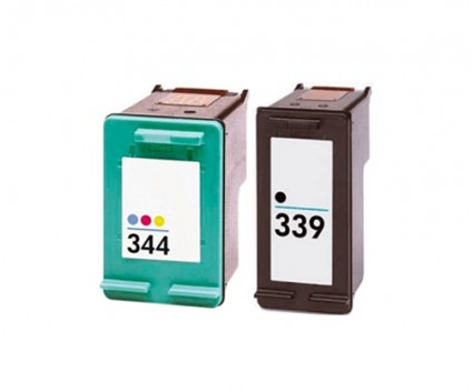 2 Compatible Ink Cartridges, HP 344 Color 18ml + HP 339 Black 25ml