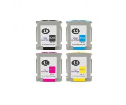 4 Compatible Ink Cartridges, HP 10 Black 69ml + HP 11 Color 28ml