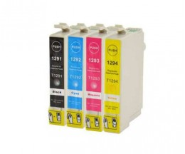 4 Compatible Ink Cartridges, Epson T1291-T1294 Black 15ml + Color 13ml