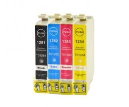 4 Compatible Ink Cartridges, Epson T1281-T1284 Black 13ml + Color 6.6ml