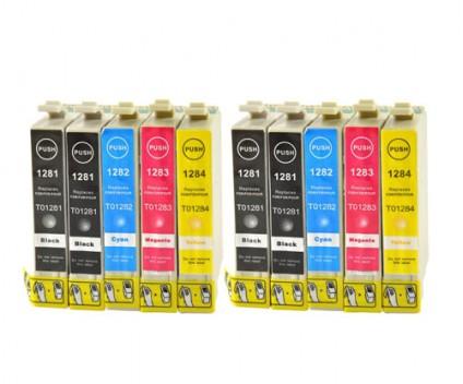 10 Compatible Ink Cartridges, Epson T1281-T1284 Black 13ml + Color 6.6ml