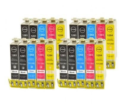 20 Compatible Ink Cartridges, Epson T1281-T1284 Black 13ml + Color 6.6ml