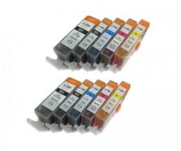 10 Compatible Ink Cartridges, Canon PGI-525 / CLI-526 Black 19.4ml + Color 9ml
