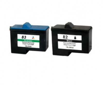 2 Compatible Ink Cartridges, Lexmark 82 Black 21ml + Lexmark 83 Color 15ml