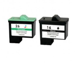 2 Compatible Ink Cartridges, Lexmark 26 / 27 Color 12ml + Lexmark 16 / 17 Black 15ml