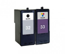 2 Compatible Ink Cartridges, Lexmark 33 Color 15ml + Lexmark 32 Black 21ml