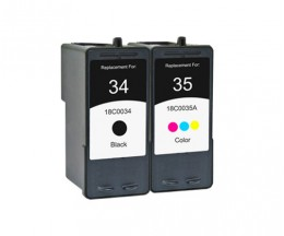 2 Compatible Ink Cartridges, Lexmark 35 Color 15ml + Lexmark 34 Black 21ml