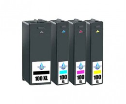 4 Compatible Ink Cartridges, Lexmark 100 XL Black 19ml + Color 12.5ml