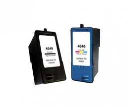 2 Compatible Ink Cartridges,  DELL M4646 Color 15ml + M4640 Black 21ml
