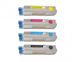 4 Compatible Toners, OKI 43324408 Black + 4338190X Color ~ 6.000 / 2.000 Pages