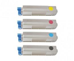 4 Compatible Toners, OKI 43865708 Black + 4387230X Color ~ 8.000 / 2.000 Pages
