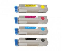4 Compatible Toners, OKI 4332442X Black + Color ~ 6.000 / 5.000 Pages