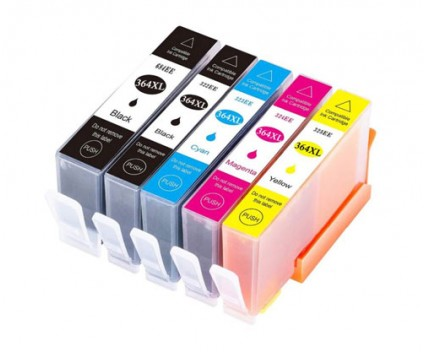 5 Compatible Ink Cartridges, HP 364 XL Black 18.6ml + Color 14.6ml
