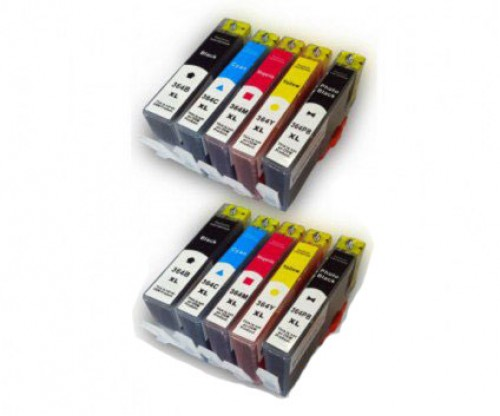 10 Compatible Ink Cartridges, HP 364 XL Black 18.6ml + Color 14.6ml