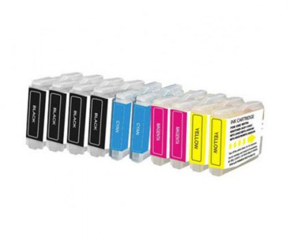 10 Compatible Ink Cartridges, Brother LC-970 XL / LC-1000 XL Black 36ml + Color 26.6ml