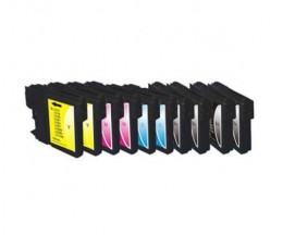 10 Compatible Ink Cartridges, Brother LC-980 XL / LC-1100 XL Black 28ml + Color 18ml