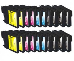 20 Compatible Ink Cartridges, Brother LC-980 XL / LC-1100 XL Black 28ml + Color 18ml