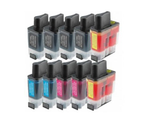 10 Compatible Ink Cartridges, Brother LC-900 Black 20ml + Color 12ml