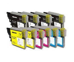 10 Compatible Ink Cartridges, Brother LC-985 XL Black 28ml + Color 18ml