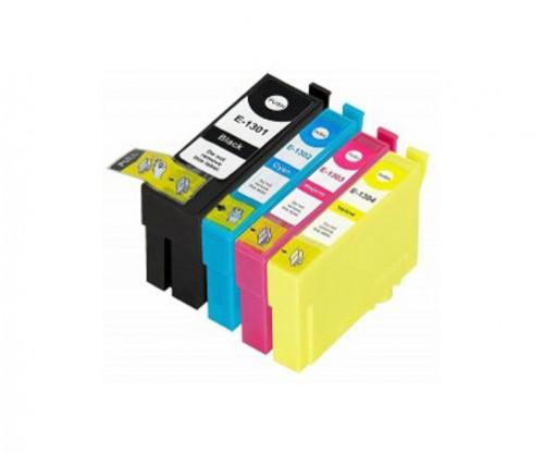 4 Compatible Ink Cartridges, Epson T1301-T1304 Black 33ml + Color 14ml