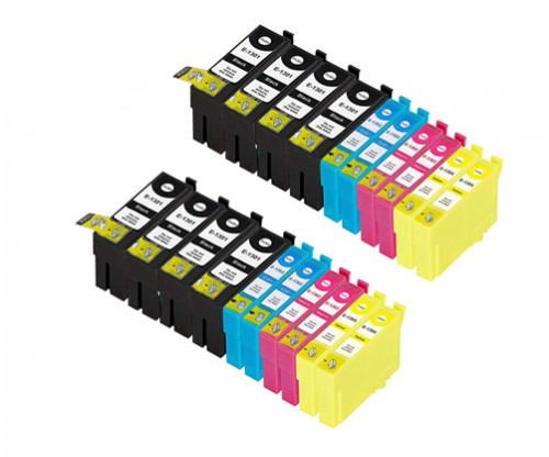 20 Compatible Ink Cartridges, Epson T1301-T1304 Black 33ml + Color 14ml