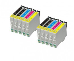 10 Compatible Ink Cartridges, Epson T0441-T0444 Black 17ml + Color 17ml
