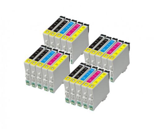 20 Compatible Ink Cartridges, Epson T0441-T0444 Black 17ml + Color 17ml