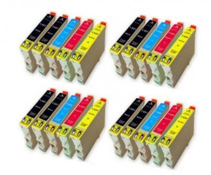 20 Compatible Ink Cartridges, Epson T0551-T0554 Black 17ml + Color 16ml
