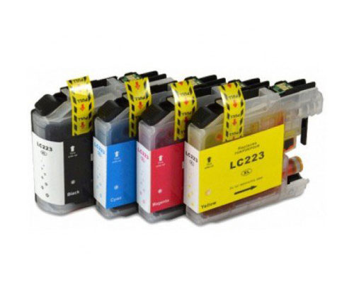 4 Compatible Ink Cartridges, Brother LC-221 / LC-223 Black 16.6ml + Color 9ml
