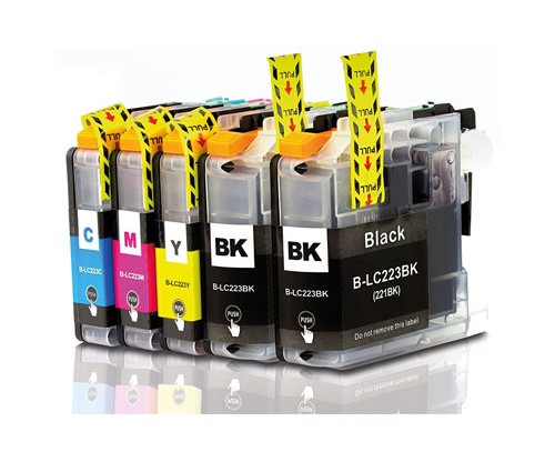 5 Compatible Ink Cartridges, Brother LC-221 / LC-223 Black 16.6ml + Color 9ml